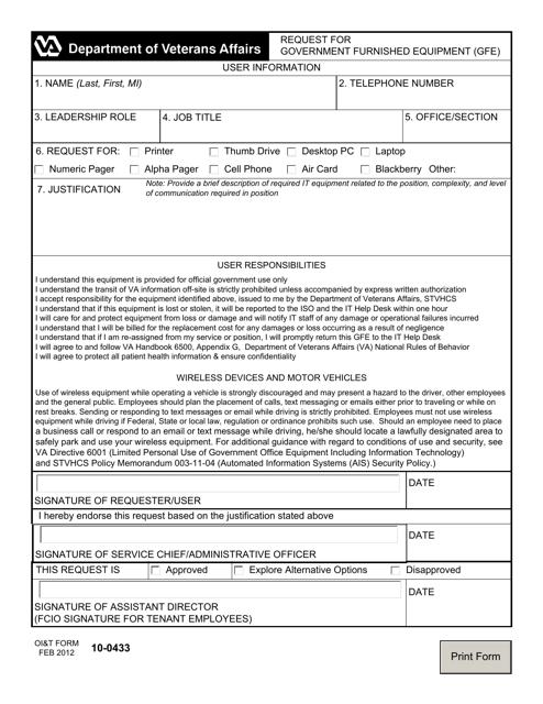 OI&T Form 10-0433  Printable Pdf