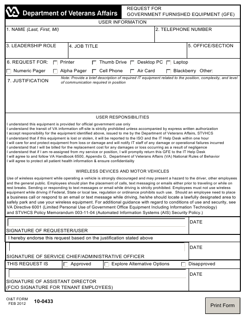 Form 10-0433  Fillable Pdf