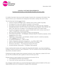"Form CL1 ""Canada Customs Invoice Filing Packet - the Shopping Channel"" - Canada"