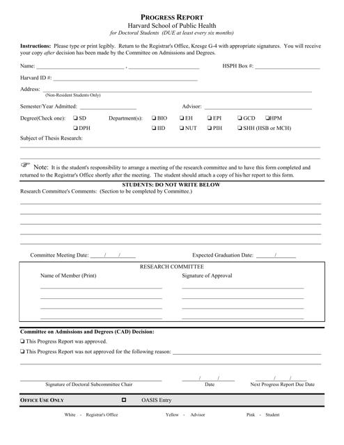 """Progress Report Form - Harvard School of Public Health"" Download Pdf"