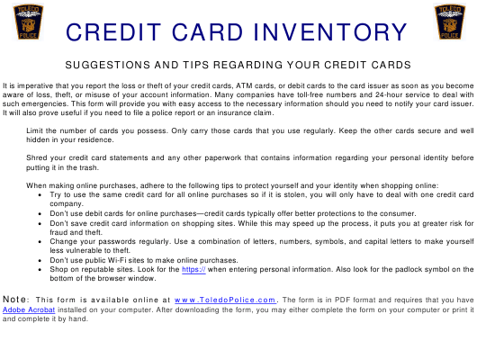 """Credit Card Inventory Form"" - Toledo, Ohio Download Pdf"