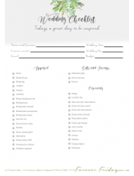 Wedding Day Checklist Template - Forever Friday