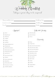 """Wedding Day Checklist Template - Forever Friday"""