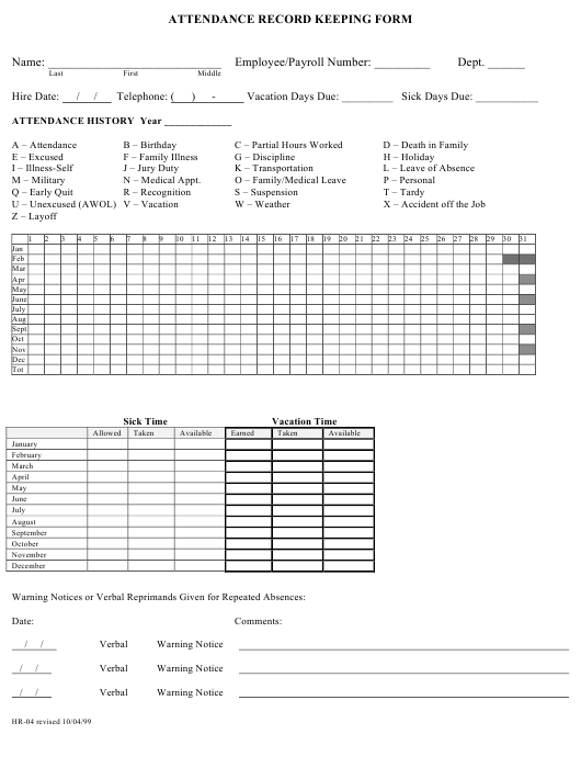 """Attendance Record Keeping Form"" Download Pdf"