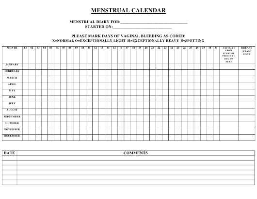 """Menstrual Calendar Template"" Download Pdf"