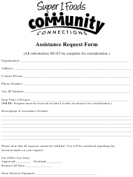 """Assistance Request Form - Super 1 Food Community Connections"""