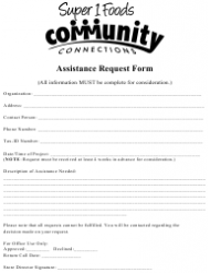 Assistance Request Form - Super 1 Food Community Connections