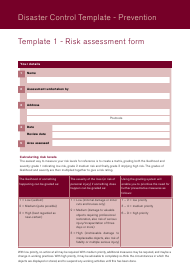 Disaster Control Template - Prevention - Ecclesiastical Insurance Office