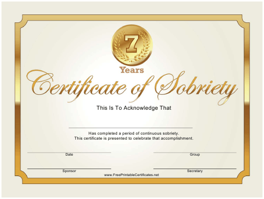 """Golden 7 Years Sobriety Certificate Template"" Download Pdf"