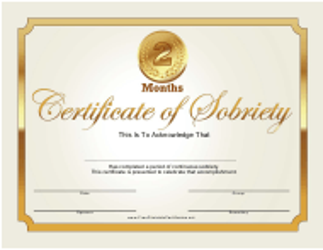 """Golden 2 Months Sobriety Certificate Template"""
