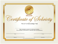"""""""1 Month Gold Certificate of Sobriety Template"""""""