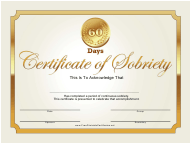 """""""Golden 60 Days Sobriety Certificate Template"""""""