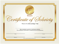 """""""10 Years Gold Certificate of Sobriety Template"""""""