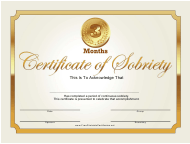 """""""3 Months Certificate of Sobriety Template"""""""
