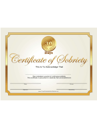30 Days Gold Certificate Of Sobriety Template