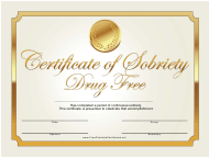 """""""Drug Free Gold Certificate of Sobriety Template"""""""