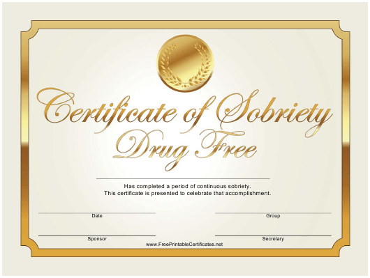 """Drug Free Gold Certificate of Sobriety Template"" Download Pdf"