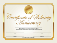 """""""Anniversary Gold Certificate of Sobriety Template"""""""