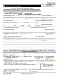 VA Form 21-526C Pre-discharge Compensation Claim