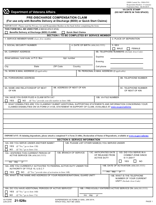 VA Form 21-526C Fillable Pdf