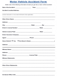 Motor Vehicle Accident Form