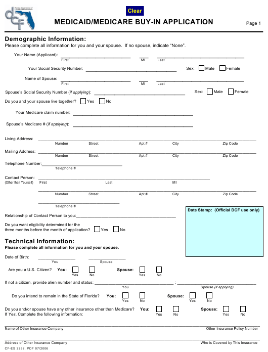 Form CF-es 2282 Download Fillable PDF, Medicaid/Medicare Buy