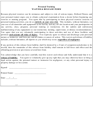 Personal Training Waiver & Release Form