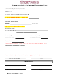Recommendation for Internal Promotion Form - Midwestern State University