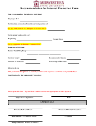 """Recommendation for Internal Promotion Form - Midwestern State University"""