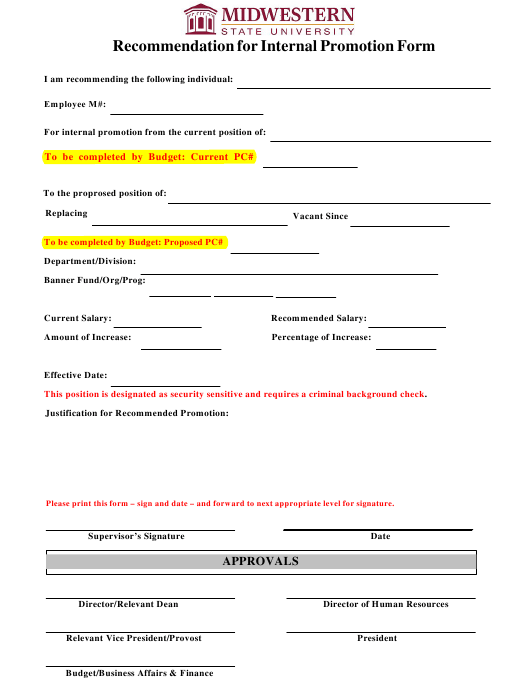 """Recommendation for Internal Promotion Form - Midwestern State University"" Download Pdf"