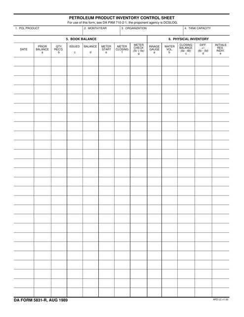 DA Form 5831-R Fillable Pdf