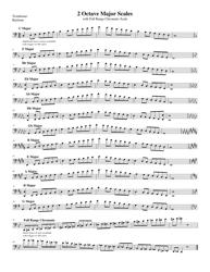 """2 Octave Major Trombone/ Baritone Scales Sheet"""