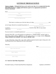 Letter Of Trespass Notice Template