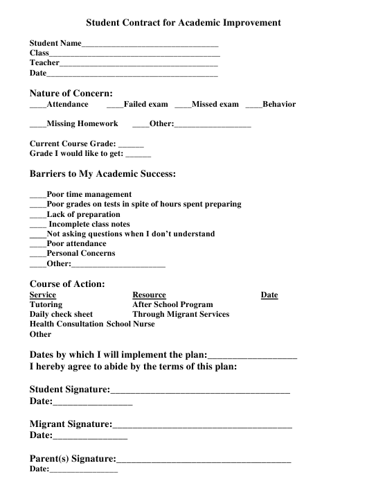 """Student Contract for Academic Improvement"" Download Pdf"