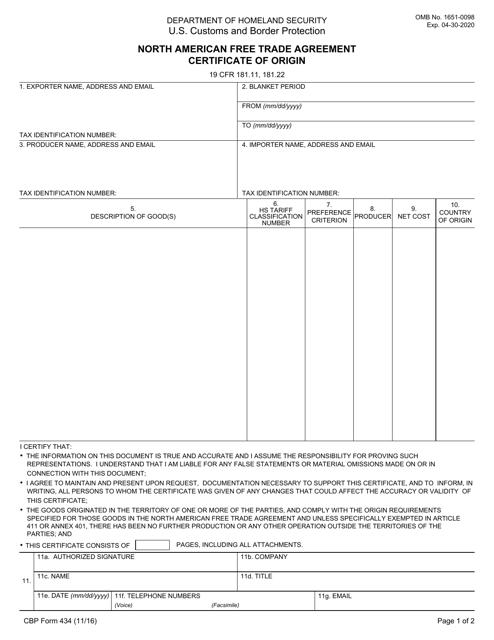 Cbp Form 434 Download Fillable Pdf North American Free Trade