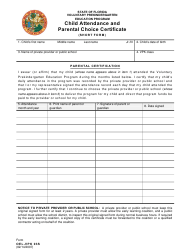 """Form OEL-VPK03S """"Child Attendance and Parental Choice Certificate - Short Form"""" - Florida"""