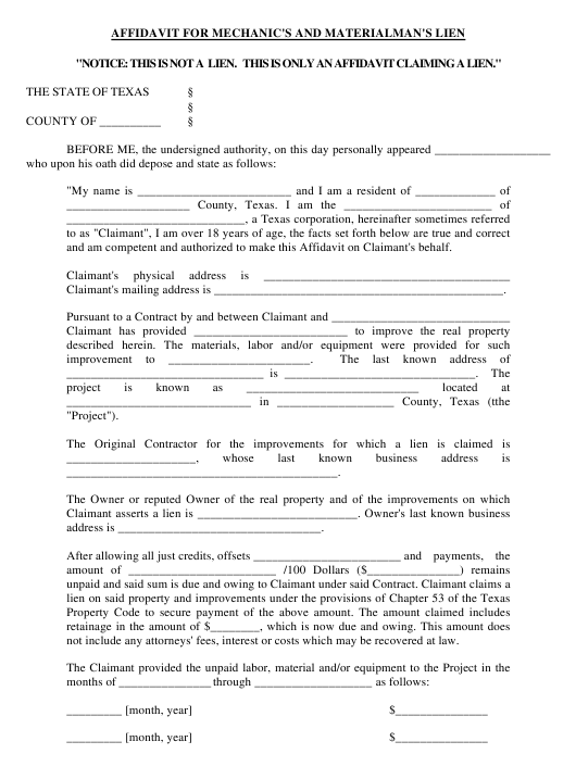 Affidavit for Mechanic's and Materialman's Lien Form Texas