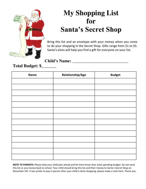 """Santa's Secret Shop Shopping List Template"" Download Pdf"