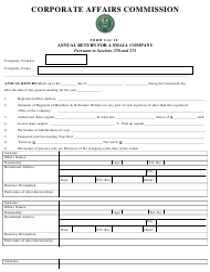 "Form CAC10 ""Annual Return for a Small Company"" - Nigeria"
