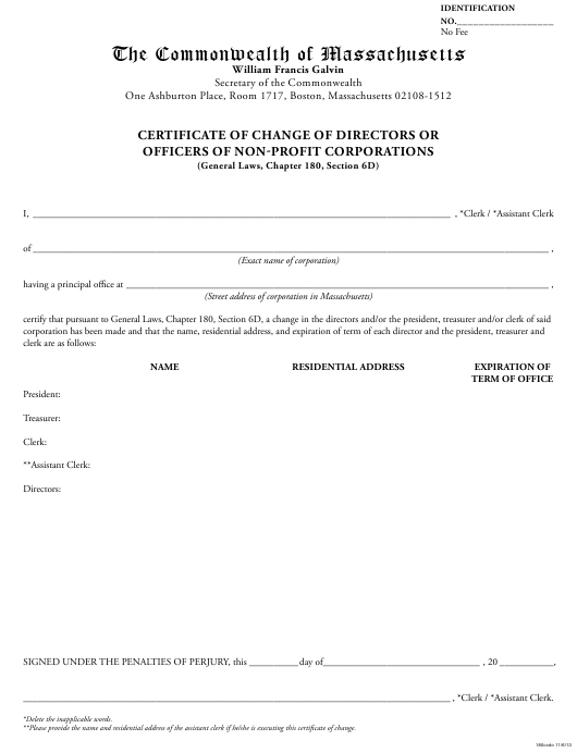 """""""Certificate of Change of Directors or Officers of Non-profit Corporations"""" - Massachusetts Download Pdf"""