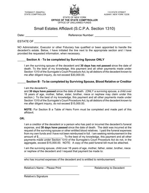 Small Estates Affidavit Form - New York Download Pdf
