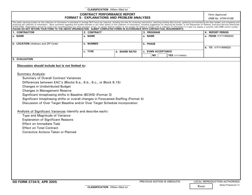 DD Form 2734/5  Printable Pdf