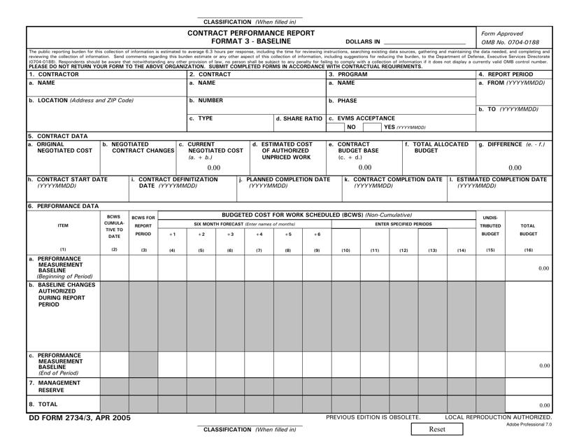 DD Form 2734/3  Printable Pdf