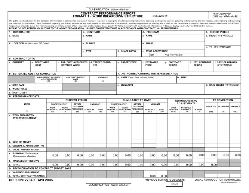DD Form 2734/1  Printable Pdf