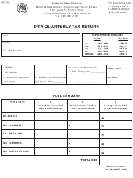 "Form MVD-11263 ""Ifta Quarterly Tax Return"" - New Mexico"