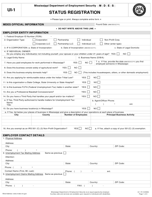 Form UI-1 Printable Pdf