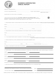 Business Corporation Annual Report Form - North Carolina