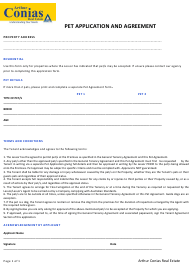"""Pet Application and Agreement Form - Arthur Conias Real Estate"" - Australia"
