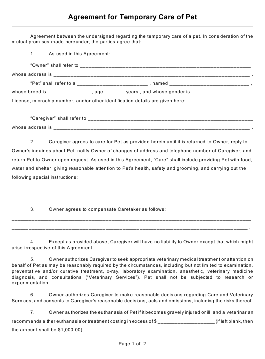"""Temporary Pet Care Agreement Form"" Download Pdf"