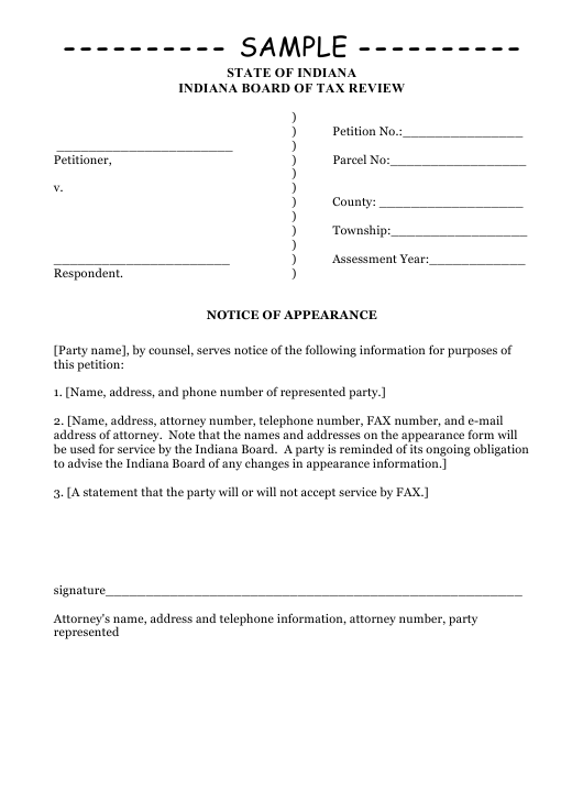 "Sample ""Notice of Appearance"" - Indiana Download Pdf"